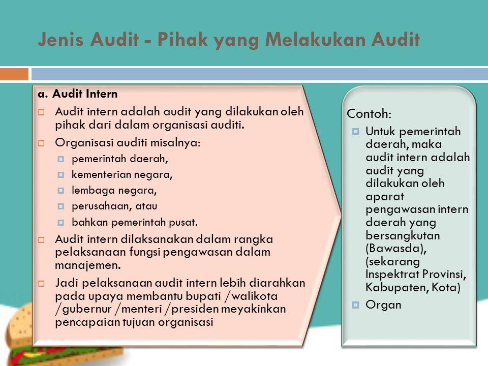 Jenis Audit - Pihak yang Melakukan Audit