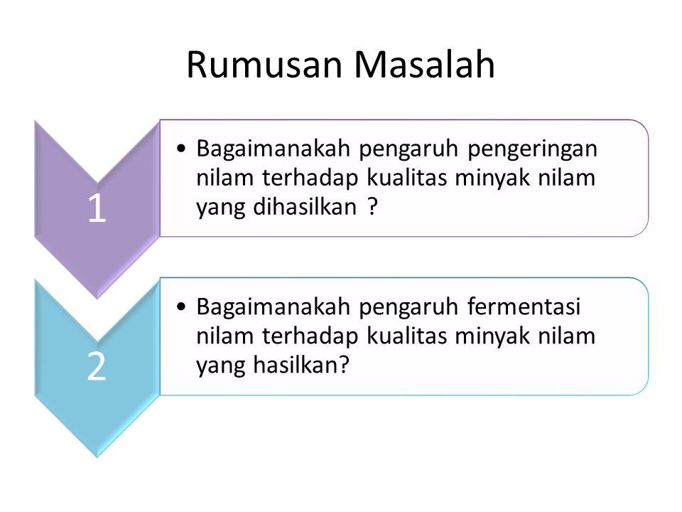 Rumusan Masalah 1. Bagaimanakah pengaruh pengeringan nilam terhadap kualitas minyak nilam yang dihasilkan