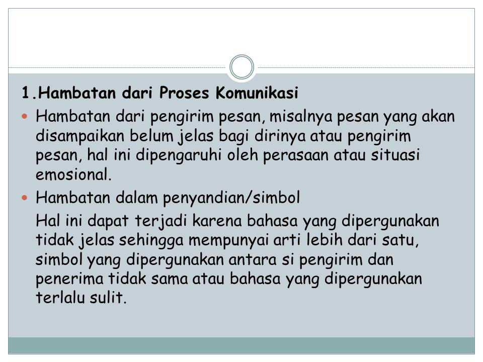 1.Hambatan dari Proses Komunikasi
