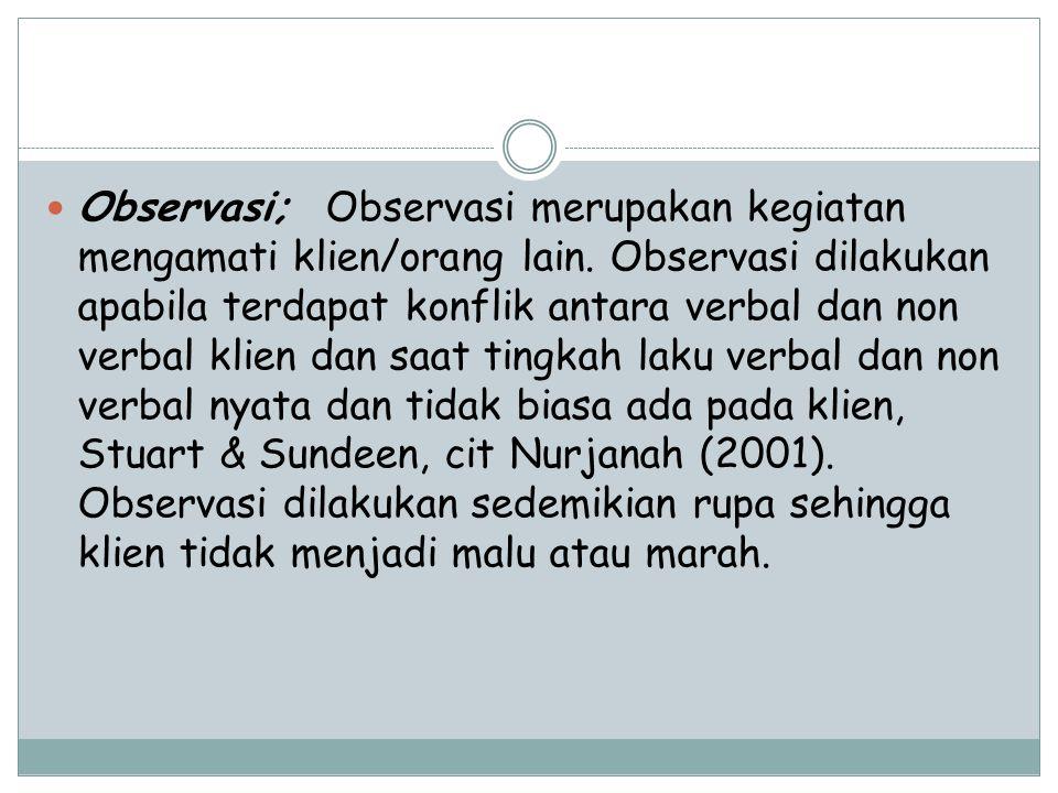Observasi; Observasi merupakan kegiatan mengamati klien/orang lain