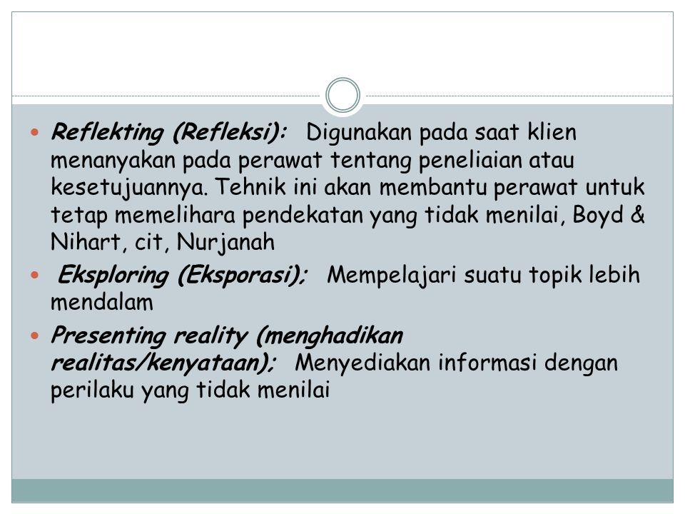 Reflekting (Refleksi): Digunakan pada saat klien menanyakan pada perawat tentang peneliaian atau kesetujuannya. Tehnik ini akan membantu perawat untuk tetap memelihara pendekatan yang tidak menilai, Boyd & Nihart, cit, Nurjanah