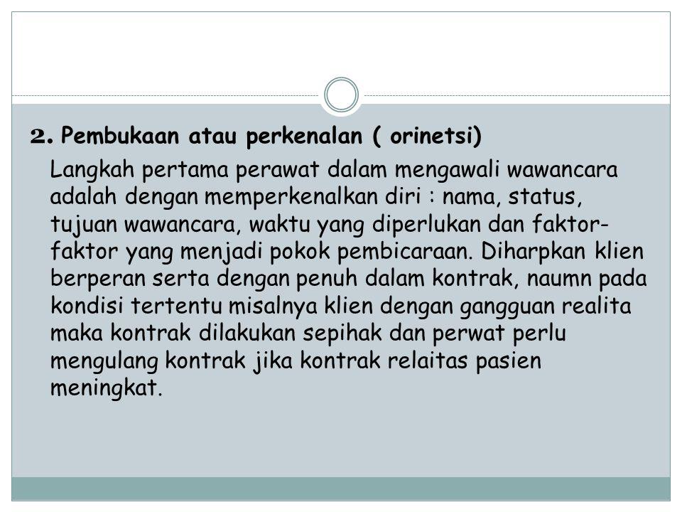 2. Pembukaan atau perkenalan ( orinetsi)