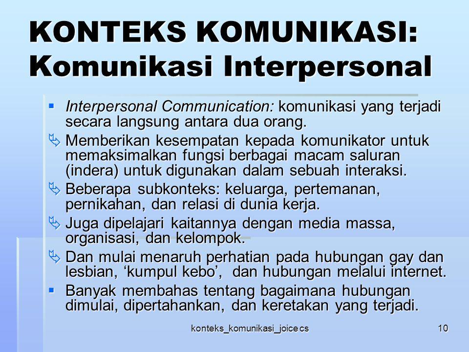 KONTEKS KOMUNIKASI: Komunikasi Interpersonal