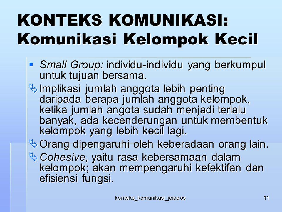 KONTEKS KOMUNIKASI: Komunikasi Kelompok Kecil