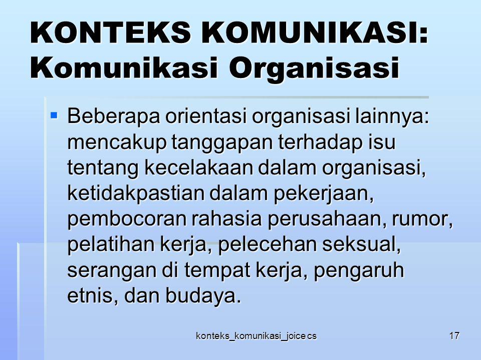 KONTEKS KOMUNIKASI: Komunikasi Organisasi