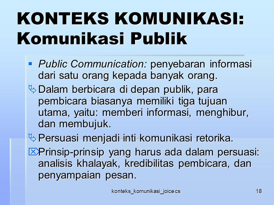 KONTEKS KOMUNIKASI: Komunikasi Publik