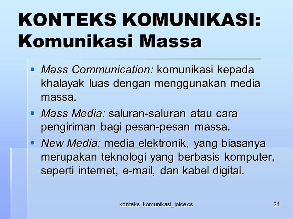 KONTEKS KOMUNIKASI: Komunikasi Massa