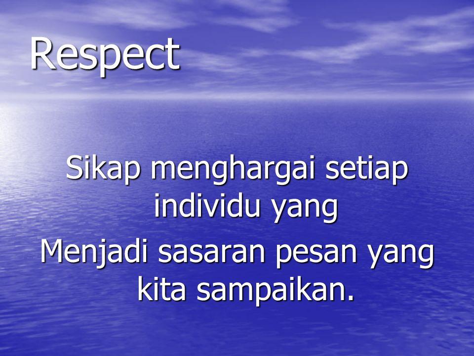 Respect Sikap menghargai setiap individu yang