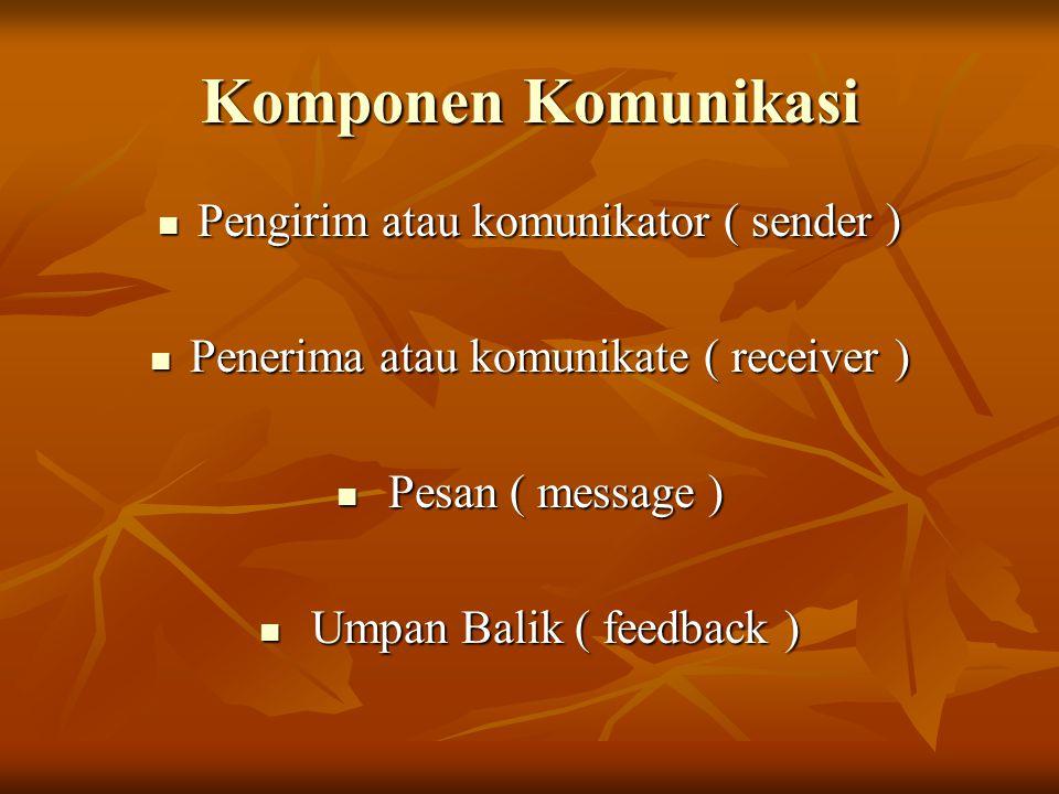 Komponen Komunikasi Pengirim atau komunikator ( sender )