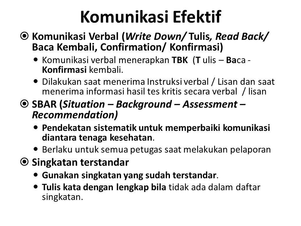 Komunikasi Efektif Komunikasi Verbal (Write Down/ Tulis, Read Back/ Baca Kembali, Confirmation/ Konfirmasi)