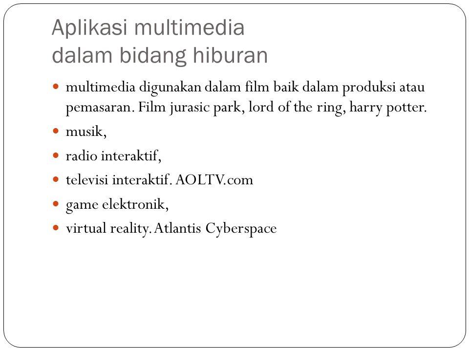 Aplikasi multimedia dalam bidang hiburan