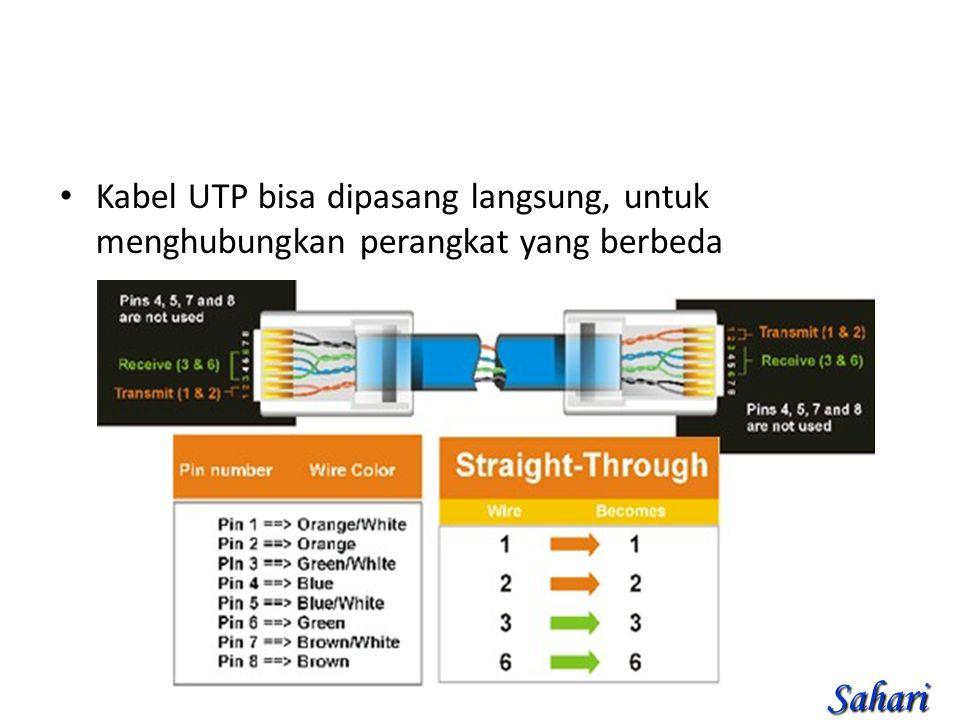 Kabel UTP bisa dipasang langsung, untuk menghubungkan perangkat yang berbeda