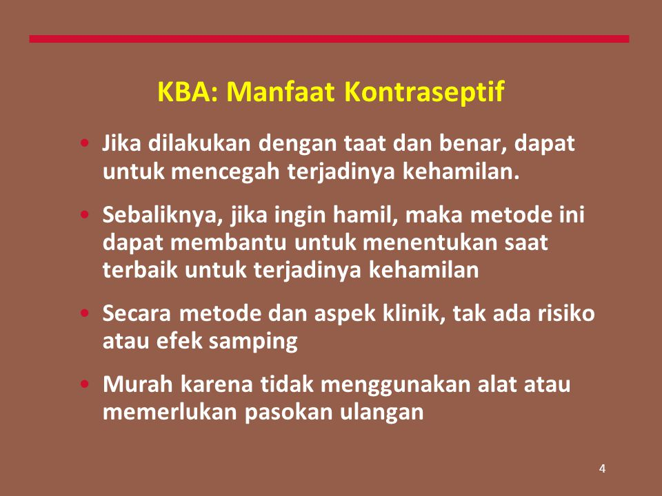 KBA: Manfaat Kontraseptif