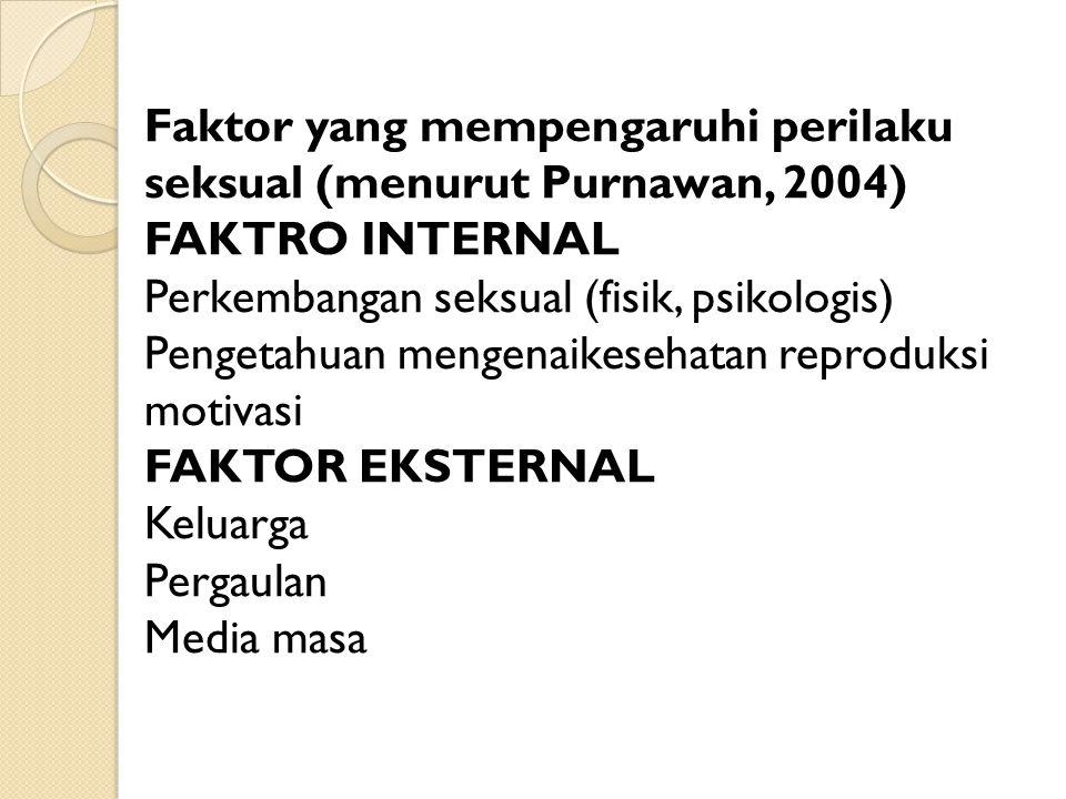 Faktor yang mempengaruhi perilaku seksual (menurut Purnawan, 2004)