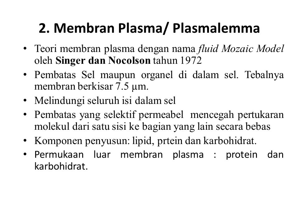 2. Membran Plasma/ Plasmalemma