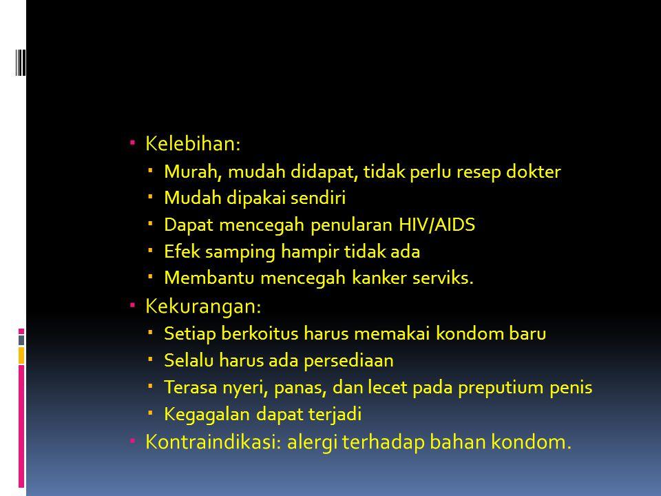 Kontraindikasi: alergi terhadap bahan kondom.