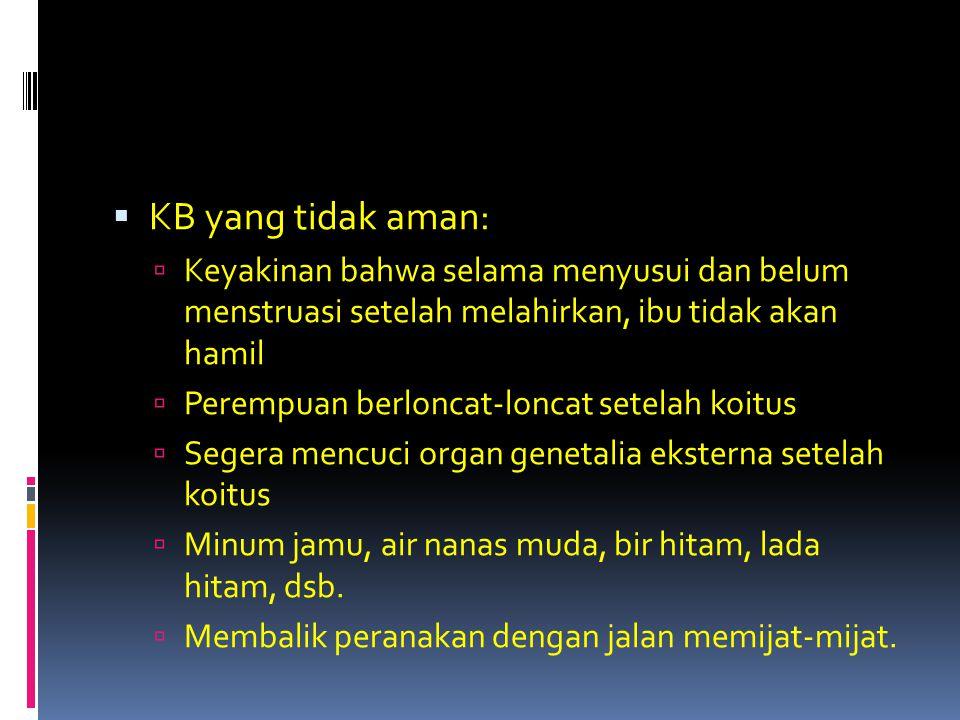 KB yang tidak aman: Keyakinan bahwa selama menyusui dan belum menstruasi setelah melahirkan, ibu tidak akan hamil.