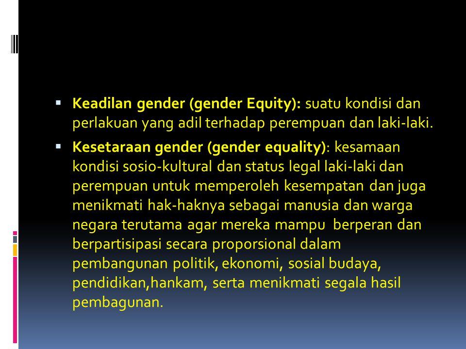 Keadilan gender (gender Equity): suatu kondisi dan perlakuan yang adil terhadap perempuan dan laki-laki.