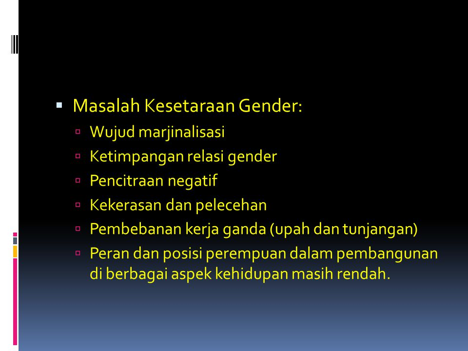 Masalah Kesetaraan Gender: