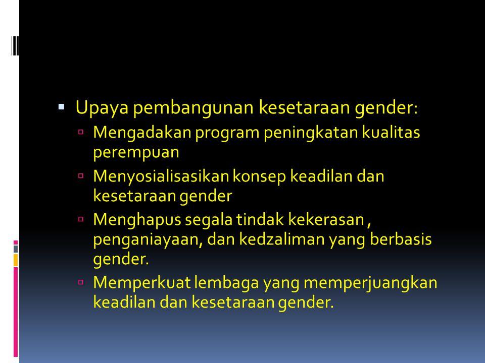 Upaya pembangunan kesetaraan gender: