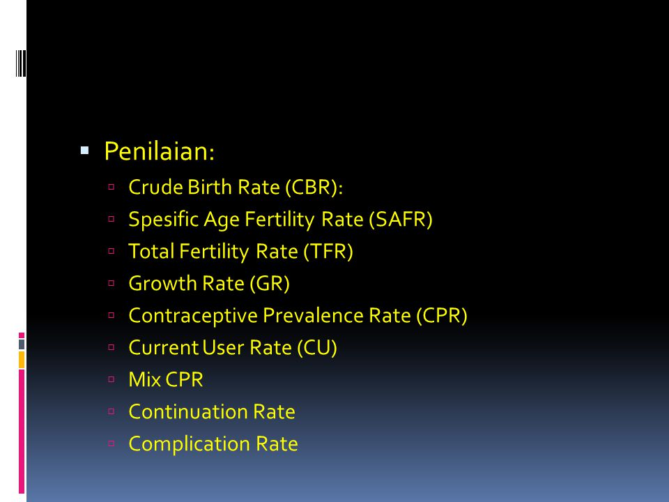 Penilaian: Crude Birth Rate (CBR): Spesific Age Fertility Rate (SAFR)
