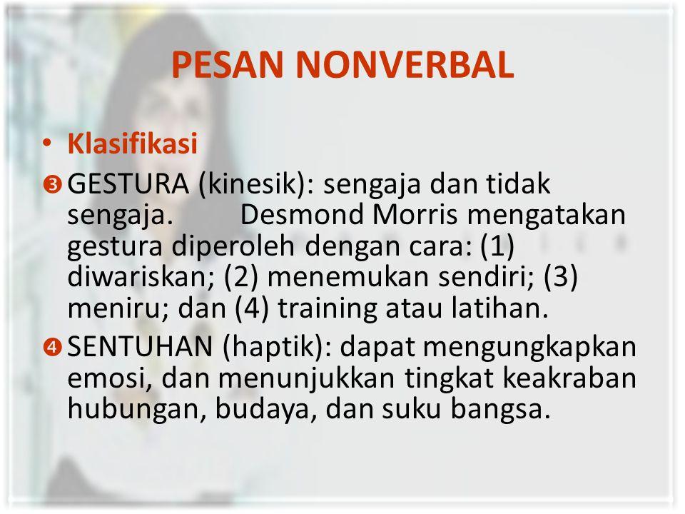 PESAN NONVERBAL Klasifikasi