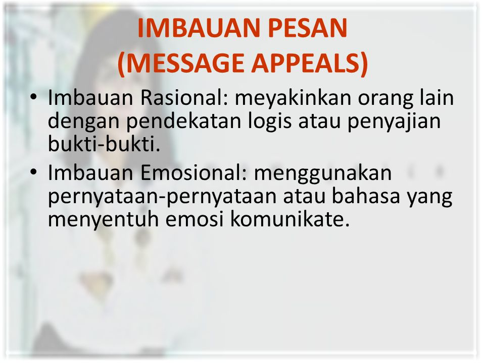 IMBAUAN PESAN (MESSAGE APPEALS)