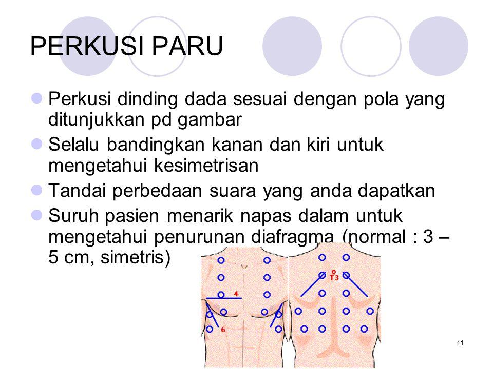 PERKUSI PARU Perkusi dinding dada sesuai dengan pola yang ditunjukkan pd gambar. Selalu bandingkan kanan dan kiri untuk mengetahui kesimetrisan.