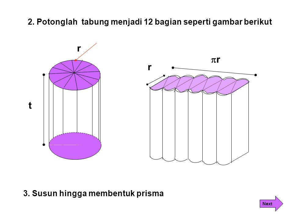 r r r t 2. Potonglah tabung menjadi 12 bagian seperti gambar berikut