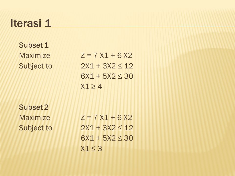 Iterasi 1 Subset 1 Maximize Z = 7 X1 + 6 X2 Subject to 2X1 + 3X2 ≤ 12