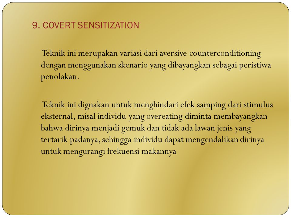 9. COVERT SENSITIZATION