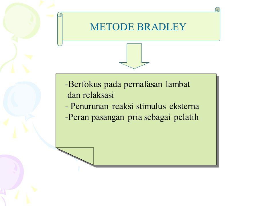 METODE BRADLEY Berfokus pada pernafasan lambat dan relaksasi