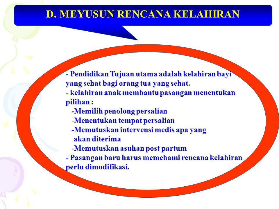 D. MEYUSUN RENCANA KELAHIRAN