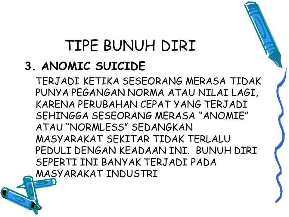 TIPE BUNUH DIRI 3. ANOMIC SUICIDE