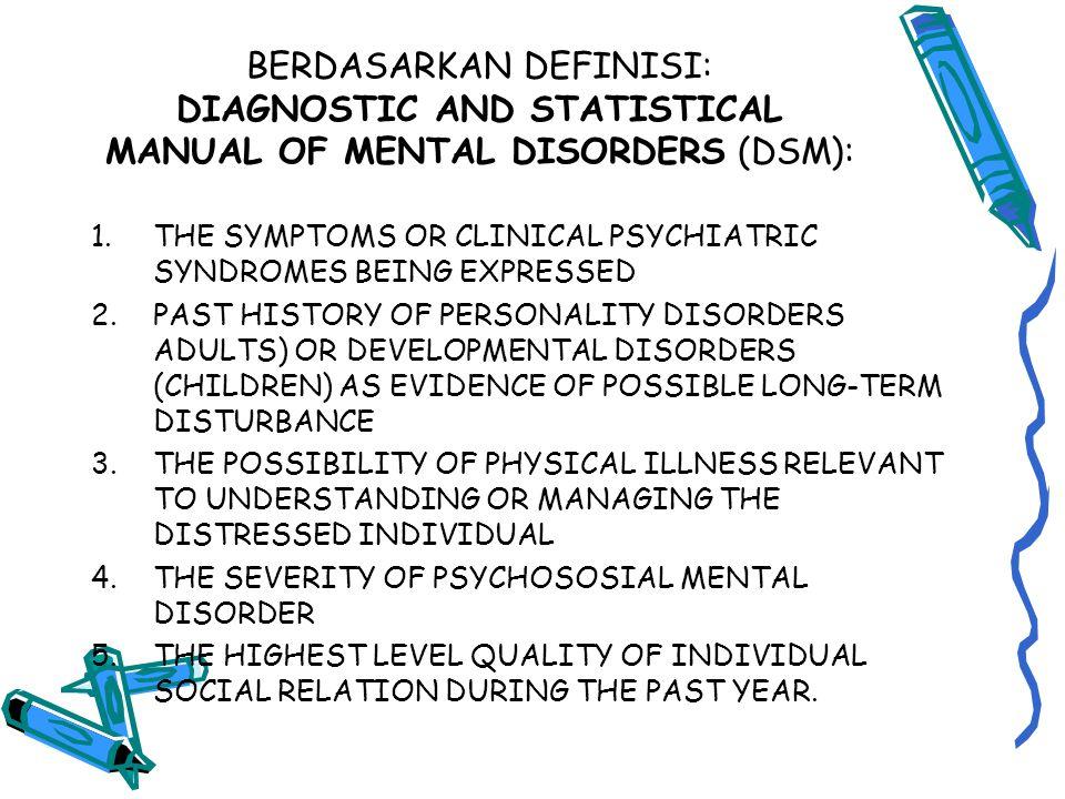 BERDASARKAN DEFINISI: DIAGNOSTIC AND STATISTICAL MANUAL OF MENTAL DISORDERS (DSM):