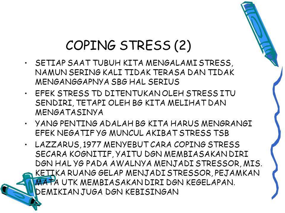 COPING STRESS (2) SETIAP SAAT TUBUH KITA MENGALAMI STRESS, NAMUN SERING KALI TIDAK TERASA DAN TIDAK MENGANGGAPNYA SBG HAL SERIUS.