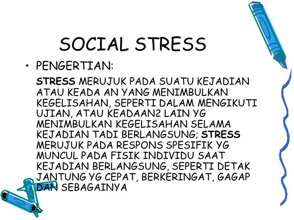 SOCIAL STRESS PENGERTIAN: