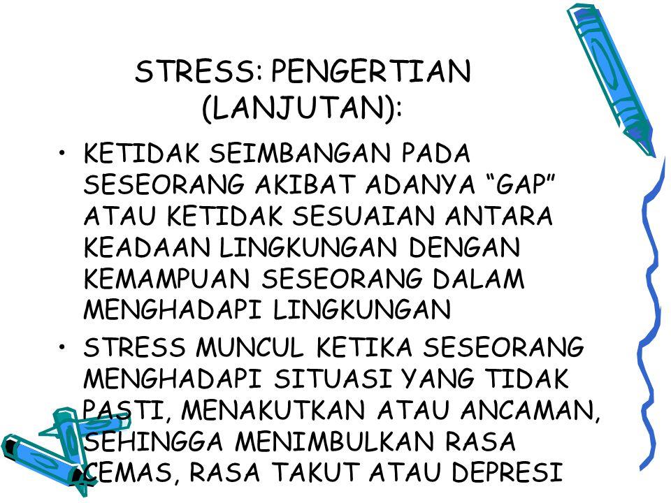 STRESS: PENGERTIAN (LANJUTAN):
