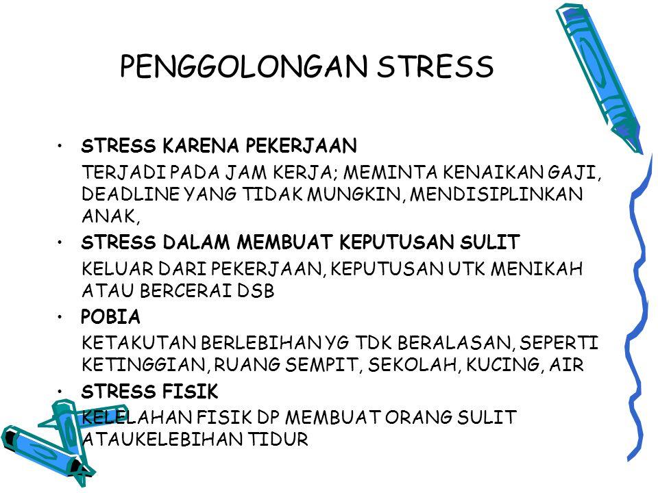 PENGGOLONGAN STRESS STRESS KARENA PEKERJAAN