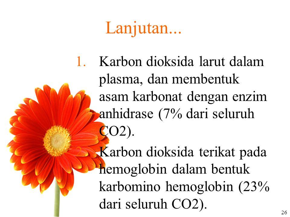 Lanjutan... Karbon dioksida larut dalam plasma, dan membentuk asam karbonat dengan enzim anhidrase (7% dari seluruh CO2).