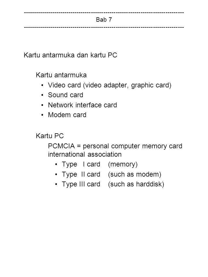 Kartu antarmuka dan kartu PC Kartu antarmuka