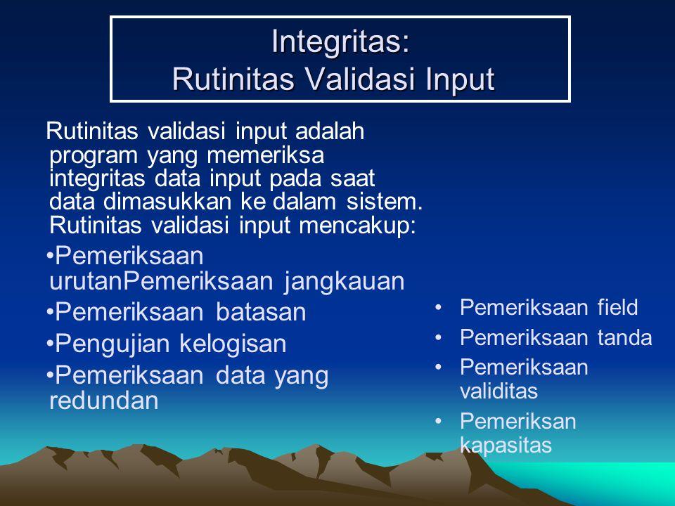 Integritas: Rutinitas Validasi Input