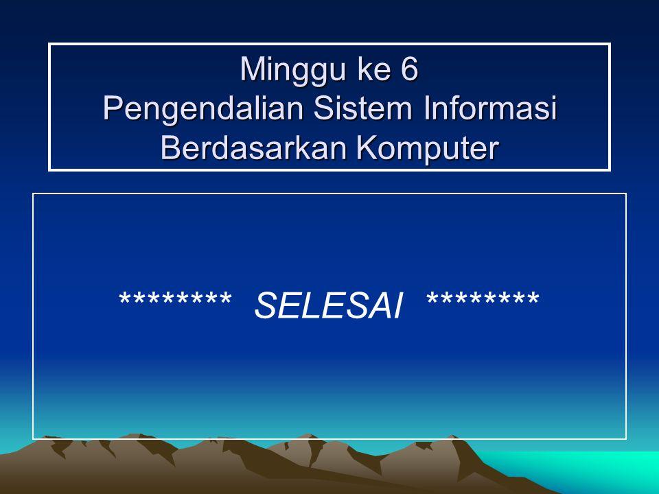 Minggu ke 6 Pengendalian Sistem Informasi Berdasarkan Komputer