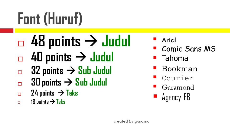 Font (Huruf) 48 points  Judul 40 points  Judul 32 points  Sub Judul