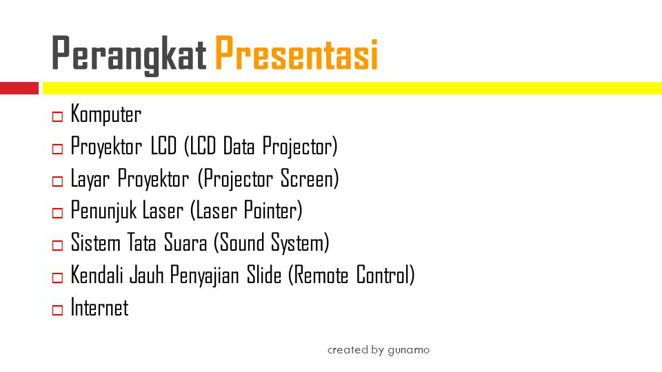 Perangkat Presentasi Komputer Proyektor LCD (LCD Data Projector)