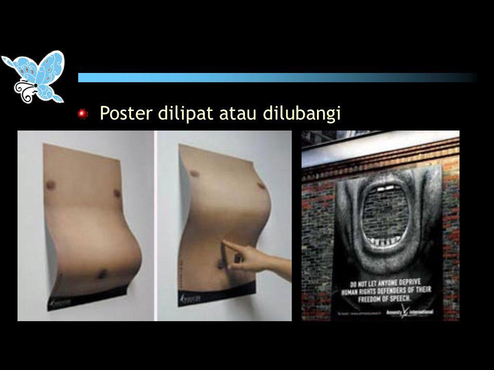 Poster dilipat atau dilubangi