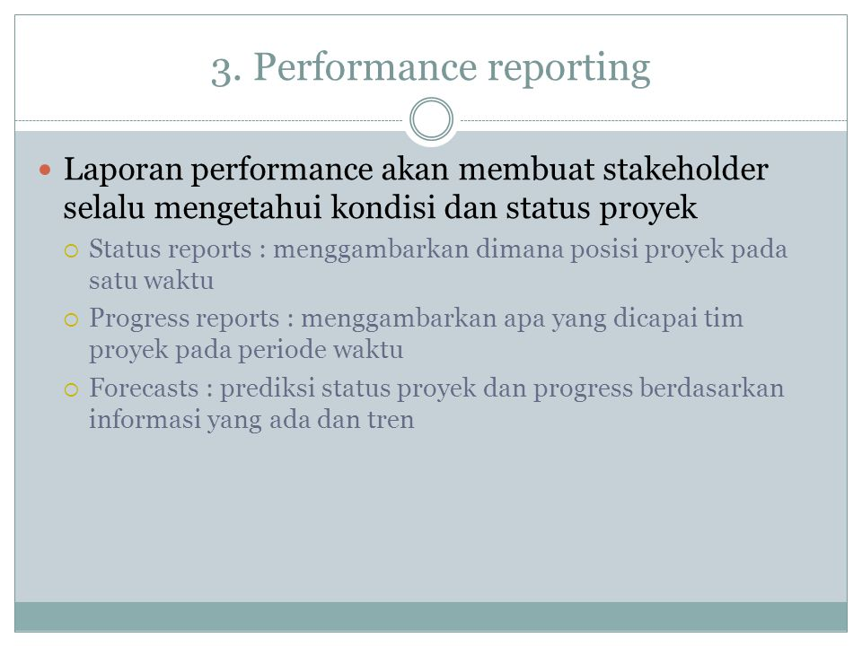 3. Performance reporting
