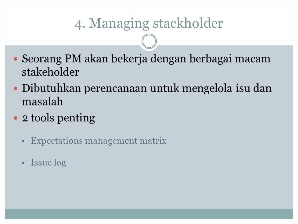 4. Managing stackholder Seorang PM akan bekerja dengan berbagai macam stakeholder. Dibutuhkan perencanaan untuk mengelola isu dan masalah.