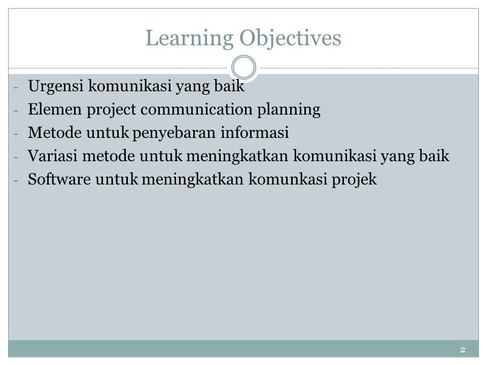 Learning Objectives Urgensi komunikasi yang baik