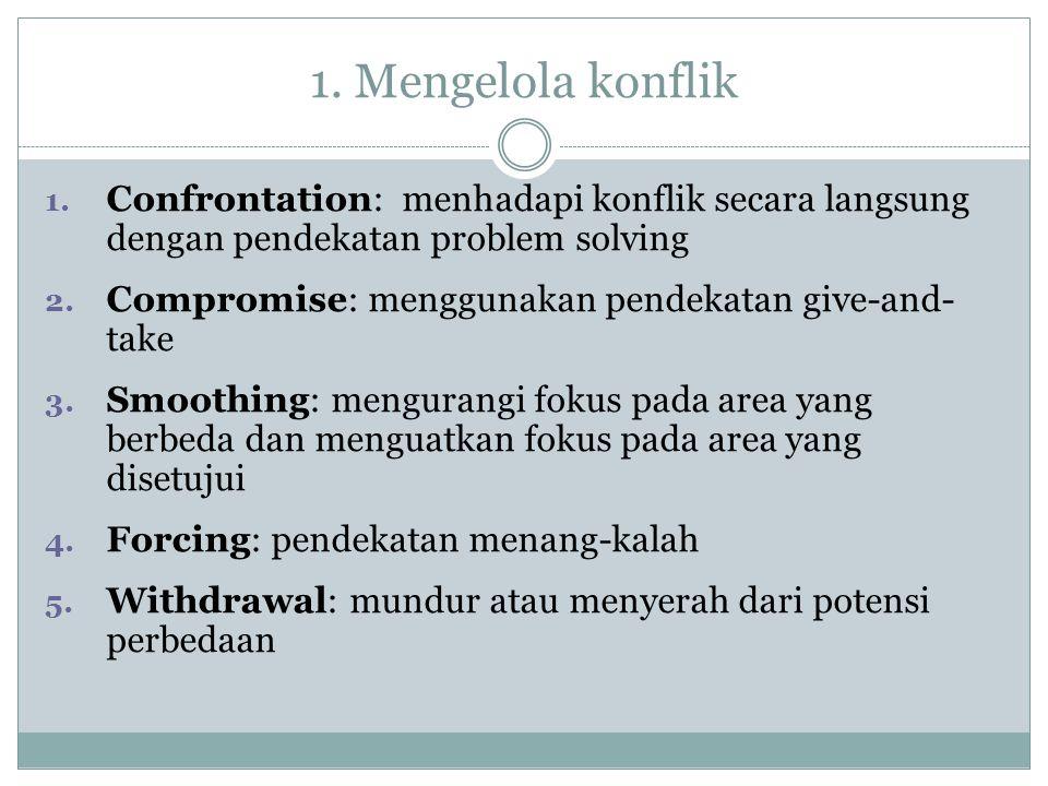 1. Mengelola konflik Confrontation: menhadapi konflik secara langsung dengan pendekatan problem solving.